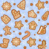 Seamless pattern with Gingerbread Christmas cookies. Decorated icing. Holiday cookie in shape of Christmas Xmas tree, star, bell, sock, gingerbread men Stock Photos