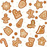 Seamless pattern with Gingerbread Christmas cookies. Decorated icing. Holiday cookie in shape of Christmas Xmas tree, star, bell, sock, gingerbread men Stock Photo
