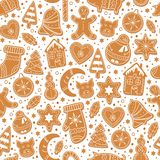 Seamless pattern with gingerbread cookies stock illustration
