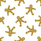 Seamless Pattern with Gingerbread Men Cookies stock illustration