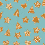 Seamless pattern with gingerbread trees, stars and hearts. Royalty Free Stock Image