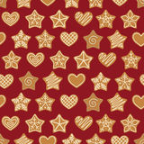 Seamless pattern with gingerbread trees, stars and hearts. stock illustration