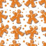 Seamless pattern. Christmas or New year. Dancing men. Vector illustration. Isolated men on a white background. stock illustration