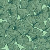Seamless pattern with ginkgo biloba leaves, textured hand drawn outline leaf veins. Vector vector illustration