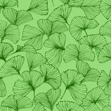 Seamless pattern with ginkgo biloba leaves, textured hand drawn outline leaf veins. Vector Royalty Free Illustration