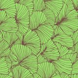 Seamless pattern with ginkgo biloba leaves, textured hand drawn outline leaf veins. Vector Stock Image