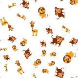 Seamless pattern of giraffe lion and monkey stock illustration