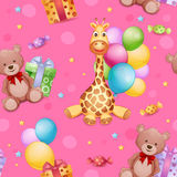 Seamless pattern with giraffe toy Stock Images