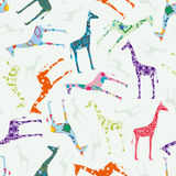 Seamless pattern with giraffes Royalty Free Stock Photo