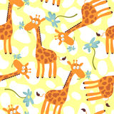 Seamless pattern with giraffes Stock Images