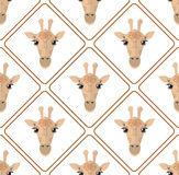 Seamless pattern with giraffes rhombuses on white background Royalty Free Stock Image