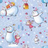 Seamless pattern with  girl and bear Stock Images