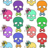 Seamless pattern of girl and boy skulls Royalty Free Stock Image