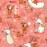 Seamless Pattern with girl and deer. Royalty Free Stock Photography
