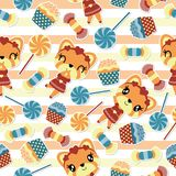 Seamless pattern of girl fox and candies on striped background vector cartoon. Illustration for kid wrapping paper, kid fabric clothes, and wallpaper Stock Photos