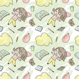 Seamless pattern with girl Stock Images
