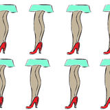 Seamless pattern with girl legs in shoes and skirt Royalty Free Stock Images