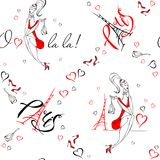 Seamless pattern. Girl in Paris. Romantic print. Girl model on the background of the Eiffel tower. O La La. Lettering. Hearts. Vec vector illustration