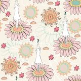 Seamless pattern. Girl silhouette in a blossoming flower Stock Photos