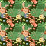 Seamless pattern girl smile playing with chickens under flowers bush, baby in apron with rabbit ears headband, easter Stock Images
