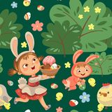 Seamless pattern girl smile running hunting decorative chocolate egg in easter bunny costume ears and tail vector. Illustration, spring holiday fun isolated on Royalty Free Stock Photos