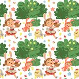 Seamless pattern girl smile running hunting decorative chocolate egg in easter bunny costume ears and tail vector. Illustration, spring holiday fun isolated on Royalty Free Stock Images