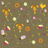 Seamless pattern with girl and sweet candies Stock Photos