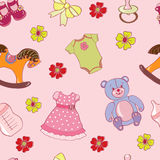 Seamless pattern with girl toys. Background pink with kids illustration royalty free illustration