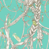 Seamless pattern with girlish braids. Hair, wind and feathers vector illustration