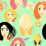 Seamless pattern for girls beauty salon. vector illustration Royalty Free Stock Photography