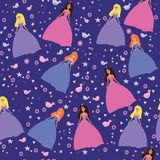 Seamless pattern  for girls with cute princesses. Royalty Free Stock Photos