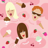 Seamless pattern - girls and dessert Royalty Free Stock Photography