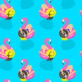 Seamless pattern with girls on an inflatable pink flamingo in summer of swims and rests. Vector illustration Royalty Free Stock Images