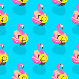 Seamless pattern with girls on an inflatable pink flamingo in summer of swims and rests. Vector illustration Stock Photography