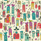Seamless pattern with girls, kids, houses, birds, hearts in cartoon doodle style. Sketch design. Royalty Free Stock Images