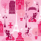Seamless pattern with girls riding on scooter and bicycle Stock Photo