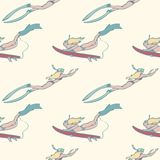 Seamless pattern with girls with surf boards diving under water in the ocean. stock illustration