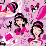 Seamless pattern with glamor lovely girls slipping Royalty Free Stock Photos
