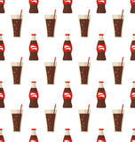 Seamless Pattern with Glass and Bottle with Dark Red Beverage Royalty Free Stock Image