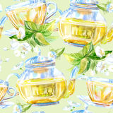 Seamless pattern of a glass cup. Green tea of a jasmine. Watercolor hand drawn illustration.Green background Royalty Free Stock Image