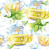Seamless pattern of a glass cup. Green tea of a jasmine. Stock Photos