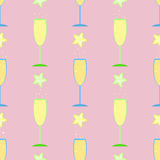 Seamless pattern glass,. Fruit summer drink glass wine bubbles, Hawaii vacation summer festive background cocktail party   alcohol birthday packing paper Royalty Free Stock Image