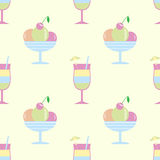 Seamless pattern glass,. Ice cream fruit summer drink glass wine bubbles, Hawaii vacation summer festive background cocktail party alcohol birthday packing Royalty Free Stock Photo