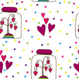 Seamless pattern with glass jar with a tree with hearts inwardly Stock Photos