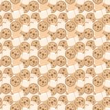 Seamless pattern with milk and cookies royalty free stock photos
