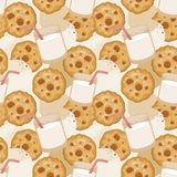 Seamless pattern with milk and cookies royalty free stock photography