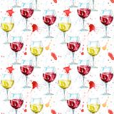 Seamless pattern of a glass red and white wine and splash. Royalty Free Stock Photo