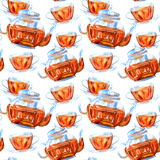 Seamless pattern of a glass teapot and cup. Black tea.Watercolor hand drawn illustration.White background Stock Image