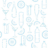 Seamless pattern of glasses and bottles. 