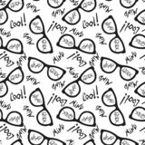 Seamless pattern with glasses and inscriptions: nerd, cool, mind, geek. Vector. Illustration stock illustration